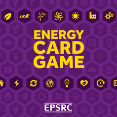 Purple and yellow energy card game front cover