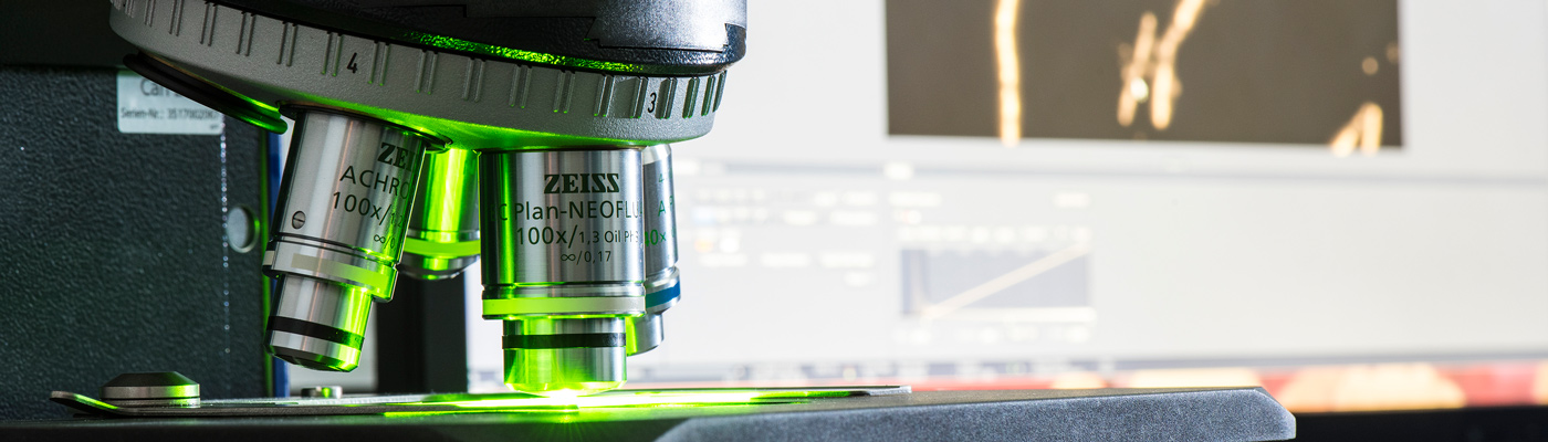 Zeiss microscope emanating green light