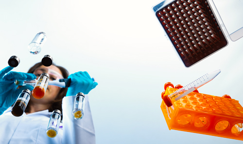 Worm's eye view of researcher squeezing pipette into tube